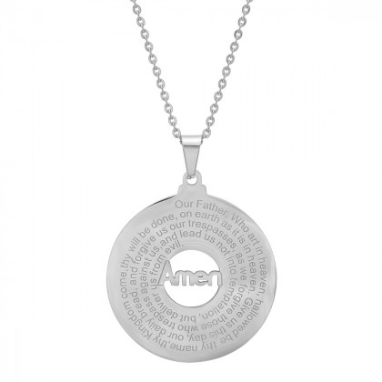 Stainless Steel Our Father Prayer Round Pendant Necklace