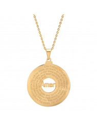 18k Gold Plated Stainless Steel Our Father Prayer Round Pendant Necklace