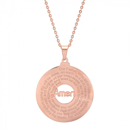 18k Rose Gold Plated Stainless Steel Our Father Prayer Round Pendant Necklace