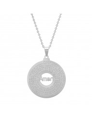 Stainless Steel Padre Nuestro Prayer Round Pendant Necklace