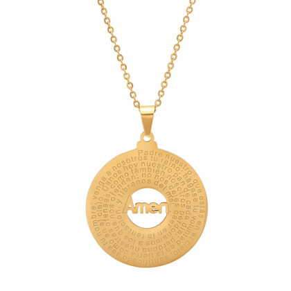 18k Gold Plated Stainless Steel Padre Nuestro Prayer Round Pendant Necklace