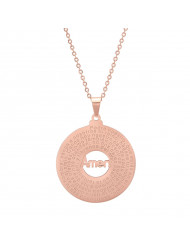 18k Rose Gold Plated Stainless Steel Padre Nuestro Prayer Round Pendant Necklace