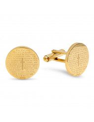 18k Gold Plated Stainless Steel Our Father Prayer Round Cufflinks