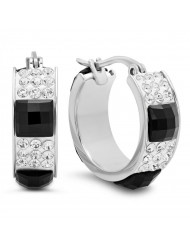 Ladies stainless steel simulated black and white diamond hoops