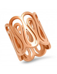 Ladies 18k rose gold plated stainless steel infinity swirl ring