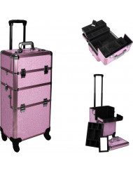 Pink Krystal 4-Wheel Makeup Case