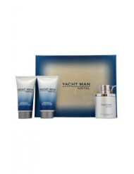 Yacht Man Metal by Myrurgia for Men - 3 Pc Gift Set 3.4oz EDT Spray, 5.1oz Shower Gel, 5.1oz After Shave Balm