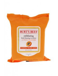 Facial Cleansing Towelettes - Peach & Willow Bark Exfoliating by Burt's Bees for Unisex - 25 Pc Towelettes