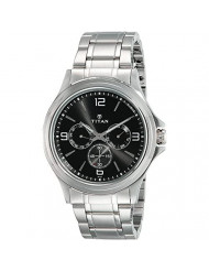 Black Dial Metal Strap Watch