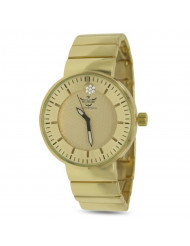 Gold Double Etched Dial Crystal Accented Executive Classic Mens Watch