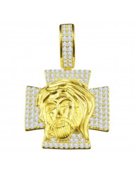 925 Silver Jesus Face on Cross Pendant CZ