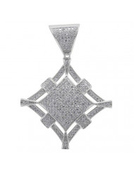 925 Silver Diamond Shape Medallian Pendant CZ