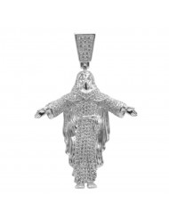 925 Silver Jesus with Cloak Pendant CZ
