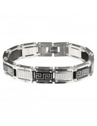 Steel & Black Greek Key with White CZ Accent with Side-Bar Link