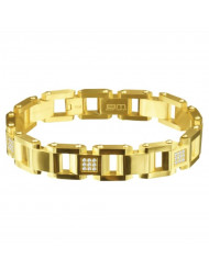 Gold Sloped Rectangle shaped Solid Bracelet with White CZ accent