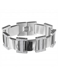 Steel Color H Style Steel Bracelet with White CZ accents