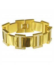 Gold H Style Steel Bracelet with White CZ accents