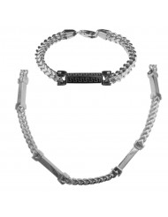 "FoxStil Solid Steel Chain and bracelet with White CZ accented blocks, 24"" + 8.75"""