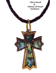Olivewood & Mother of Pearl Necklaces - Ornate Latin Cross