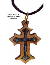 Olivewood & Mother of Pearl Necklaces - Byzantine Cross