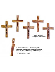 Olive Wood Pocket Cross - 25 Pack /Stamped