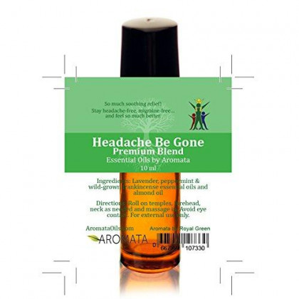 Aromata Headache Be Gone Roll-On. Easy Blissful Relief for Headaches, migraines, Sinus. Therapeutic-Grade, Aromatherapy premixed. 100% Natural, Safe, Hassle-Free 10ml 0.3-Once
