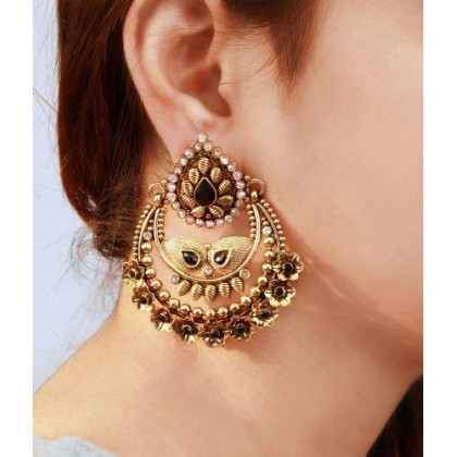 storeindya Indian Ethnic Jewelry Graceful Copper Plated Teardrop Dangle Earrings Set Adorned with Stones Rhinestones Jewelry Gift for Her